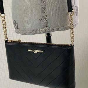 Karl Lagerfeld Paris Black Chevron Leather Bag